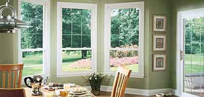 replacement vinyl windows in a kitchen